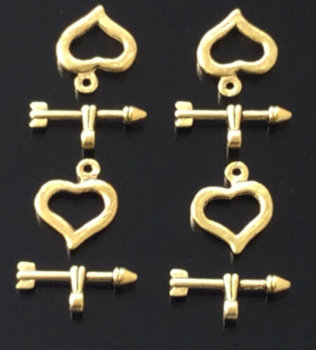 jewelry supplies 4PCS Antique Gold heart Toggle Clasps