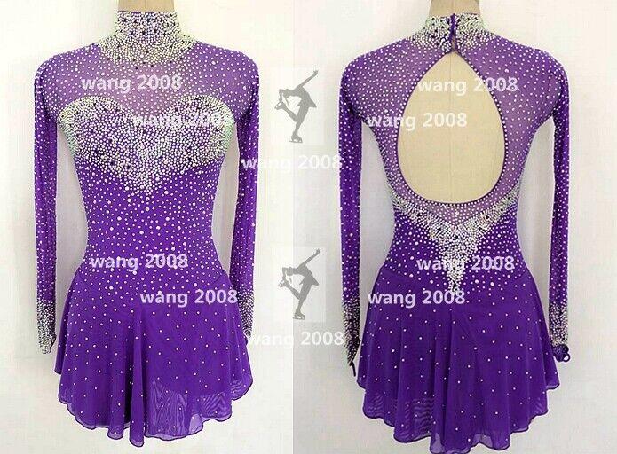 Vestido de Patinaje artístico, gimnasia y rojoación, púrpuraa