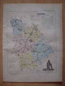 CARTE départementale de la VIENNE vers 1880 Poitiers Chatellerault Civray Loudun zlraPJQw-09163001-813322985
