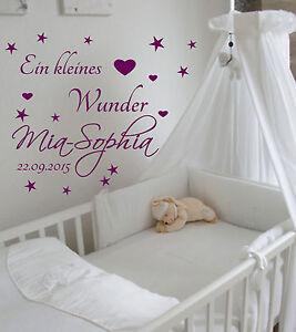 Details zu Wandtattoo Kinderzimmer mit Namen Baby +Ein kleines  Wunder+Spruch zur Geburt