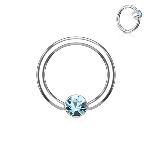 Ball Closure Ring Light Blue Jewelled  Surgical Steel 1.6mm x 12mm BCR