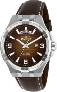 Invicta-Objet-D-Art-Quartz-Brown-Dial-Brown-Leather-Men-039-s-Watch-30184