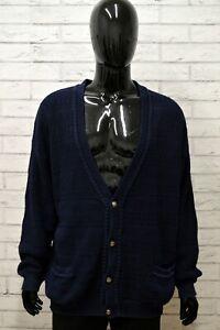 Cardigan-Uomo-STEFANEL-Taglia-Size-XXXL-Maglia-Pullover-Sweater-Man-Cotone-Blu