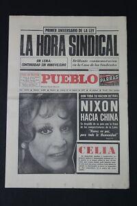 Antiguo Periodico PUEBLO, publicacion 18 Febrero 1972.  Perfectamente conservado