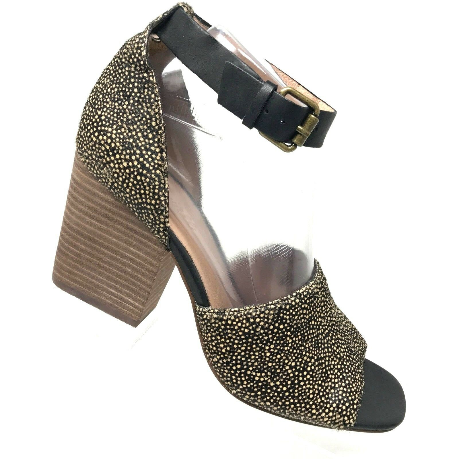 Madewell ALENA Sandale Spotted Calf Hair Stacked Heel Ankle Strap Damenschuhe SIZE 8
