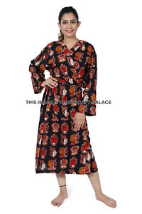 Cotton Long Sleepwear Evening Gown Bath Robe Womens Indian Casual