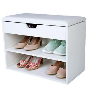 schuhschrank mit sitzkissen sitzbank schuhablage schuhregal schuhtruhe holz ebay. Black Bedroom Furniture Sets. Home Design Ideas