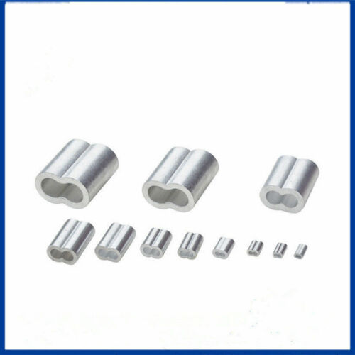 1mm-12mm Aluminium Clamp Ferrules Sleeves Wire Rope Round Double Hole Clip New
