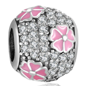 DIY  Silver European CZ Charm Pink Flower Spacer Beads Fit Necklace Bracelet