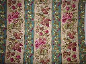 ancien-tissu-french-textile-imprime-fleurs-framboise-bleu-rose-XIXe-72-x-82-cm
