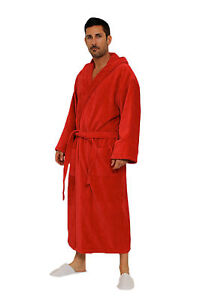Image is loading Red-Color-Terry-Cloth-Hooded-Cotton-Bathrobe-For- 25c35182a