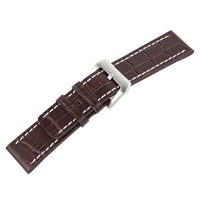 Brown Alligator Crocodile Grain Leather Band Strap for Big Watch Paneraistrap