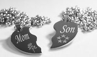 Split Heart Necklaces Mom Son Silver Stainless Steel Thick Heavy Pendants