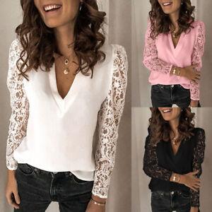Women-Lace-Crochet-V-Neck-Long-Sleeve-T-Shirt-Summer-Casual-Loose-Blouse-Top-Tee