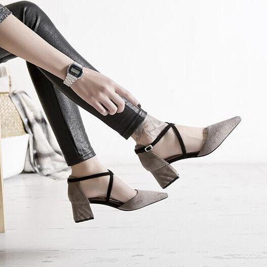Sandali 5 cm eleganti gris negro tacco quadrato sandali pelle sintetica 1100