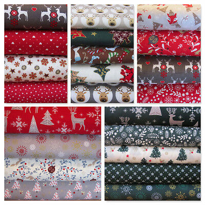 Christmas Fat Quarters Craft Bundle 100% Cotton Fabric Festive Holly Stag Fox