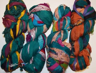 FREE S&H 100g Sari Silk Ribbon chiffon ribbon yarn, jewelry making Aqua  multi | eBay