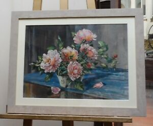 WATERCOLOUR-PINK-ROSES-ARTIST-DONALD-GREIG-F-R-S-A-FREE-SHIPPING-ENGLAND