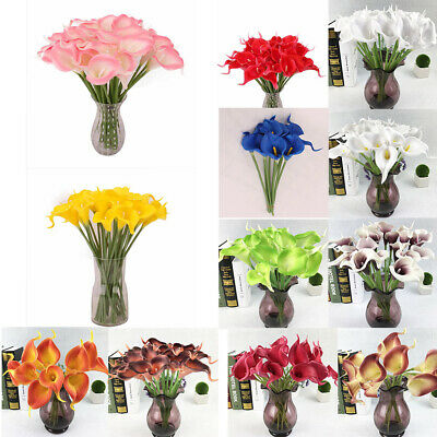 1x Artificial Latex Real Touch Fake Calla Lily Wedding Home Decor Bridal Bouquet