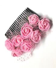 Blossom Pink Rose Gajra Hair comb hair clip pink
