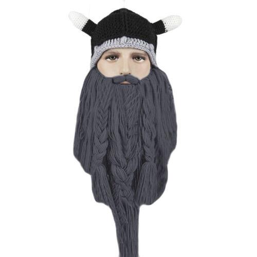 Knit Viking Beard Horn Hat Crazy Ski Cap Barbarian Vagabond Beanie Christmas New