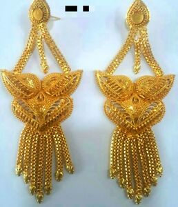 Details About 22k Gold Plated Designer 4 Long Beautiful Indian Wedding Earrings Jhumka A
