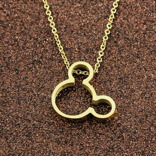 Mickey Mouse Pendant Choker Necklace Stainless Steel Collar Jewelry Gold Silver