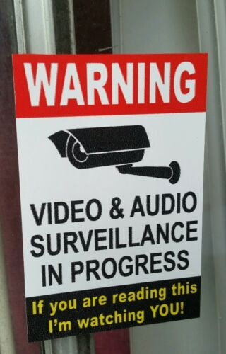 3.75x4 /& 4x6in if you are.7 pcs.. VIDEO SURVEILLANCE Security Decal  Sticker