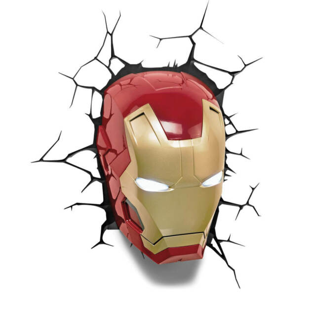 Decorative wall Led Lamp Marvel IronMan 3D Avengers face red wall light gift