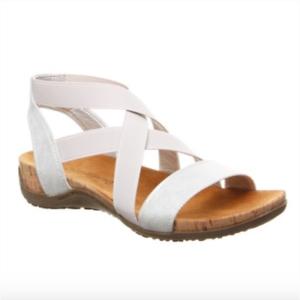 BEARPAW Strappy Silver Sandal Size 9 Open Toe Brea  EUR 40 UK 7