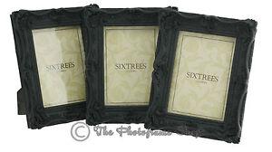 Three-Shabby-amp-Chic-Antique-Vintage-Ornate-Matt-Black-Photo-frames-7-034-x5-034-Picture