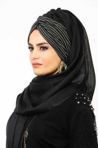 BD3070 Fertig Kopftuch Hazir Burgu Bandana Türban Sal Tesettür Hijab Khimar