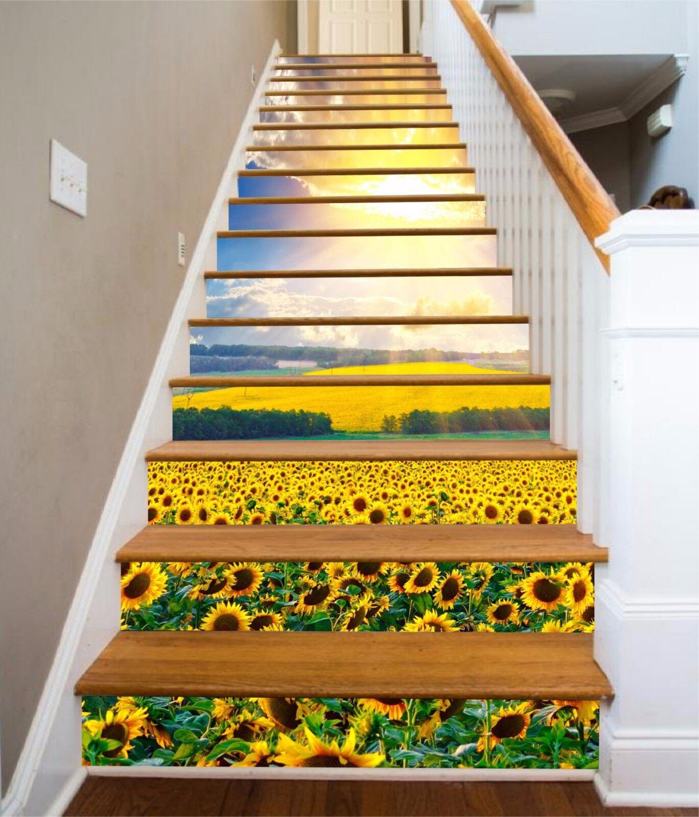 3D Sonnenblueme 7357 Stair Risers Dekoration Fototapete Vinyl Aufkleber Tapete DE
