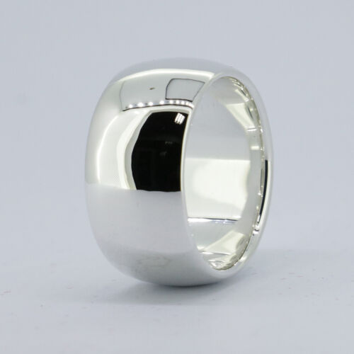 Solid 925Sterling Silver 12mm Mens Plain Band Ring