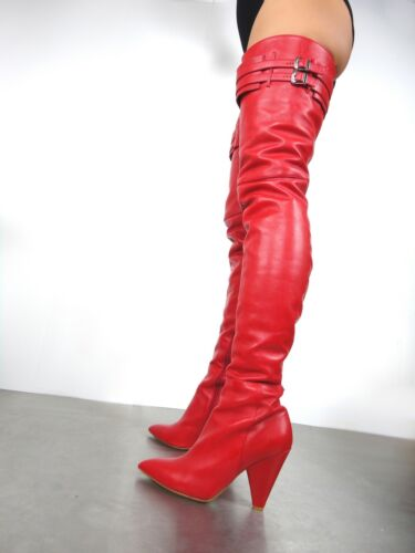 Stiefel Rosso Couture 45 Custom Stivali Cq Overknee Red Leather Rock Belt Boots 7qXHxpv