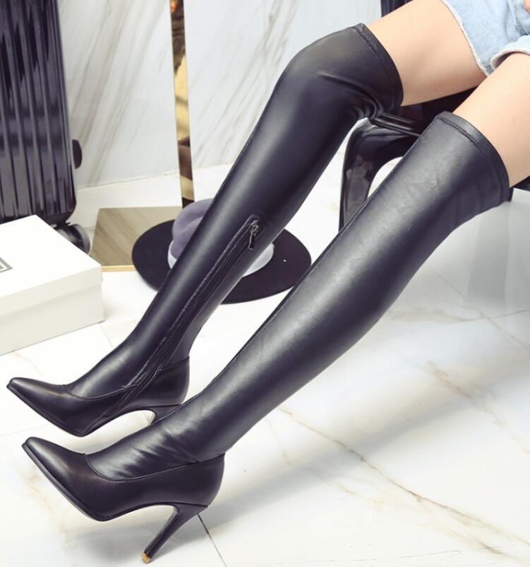 Nuevos Zapatos Para Mujer Negro Tacones De De De Aguja Taco Alto Puntera en Punta Sobre la Rodilla botas muslo  Ahorre 60% de descuento y envío rápido a todo el mundo.