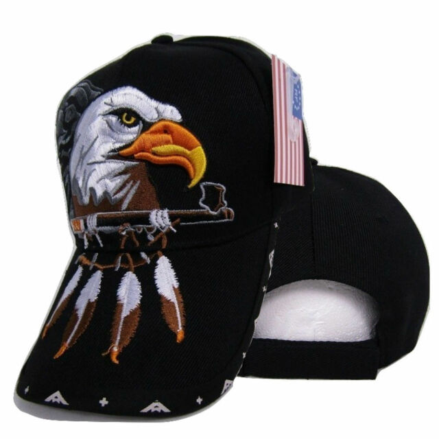 Native Pride American Indian Eagle Herb Pipe Shadow Black Embroidered Cap  Hat 21482a0556b