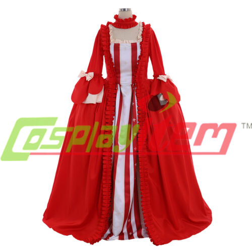 18th Marie Antoinette Day Court Gown Dress red Rococo Gowns dress cosplay