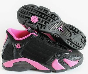 8221f9d91716f9 NIKE GIRLS AIR JORDAN 14 RETRO BLACK-PINK (GS) SZ 7Y-WOMENS SZ 8.5 ...