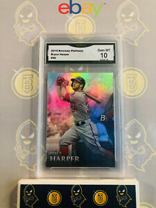 2014-Bowman-Platinum-Bryce-Harper-40-10-GEM-MINT-GMA-Graded-Baseball-Card