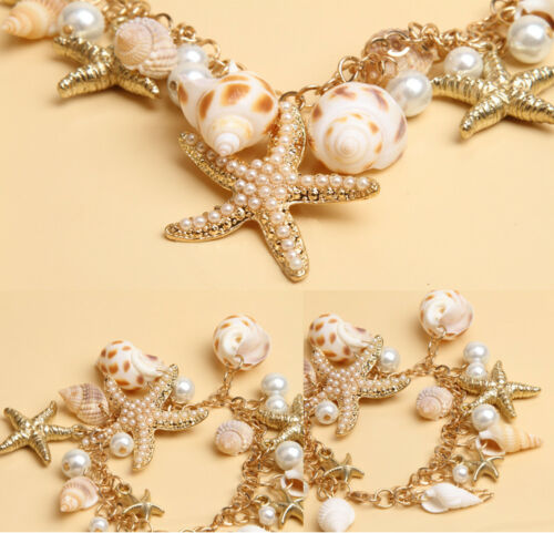 Femmes Ocean Starfish Conch Shell Pearl Chain Beach Collier Bracelet Bijoux 1pc