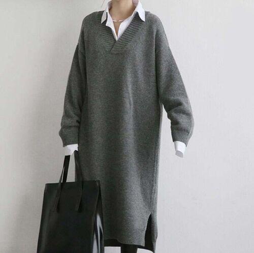 lunghe con Maglieria a scollo Maglieria maniche di donne coreane lana Maglione a delle V lunghe a maniche apgExqnO