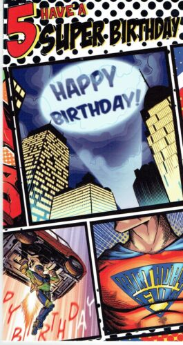 SUPER HERO 6 or Open No Age to Choose from BIRTHDAY CARD ~ Age 4,5