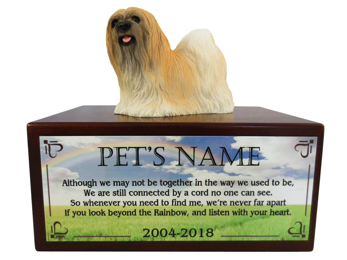 Conversation Concepts Brown Lhasa Apso with Beyond The Rainbow Poem Urn