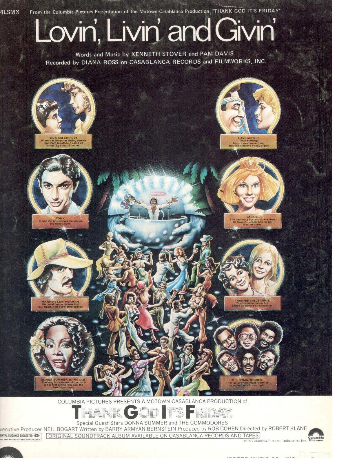 DIANA ROSS-LOVIN', LIVIN' AND GIVIN' SHEET MUSIC-THANK GOD IT'S FRIDAY-1977-NEW