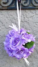 FLOWER BALLS ~ LILAC WISTERIA LAVENDER ~ Kissing Ball Wedding Flowers Pew Bows