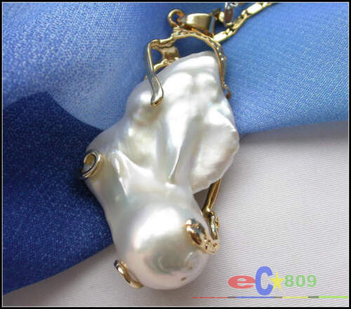 p3061 Huge 25mmx40mm baroque white keshi reborn pearl chain pendant