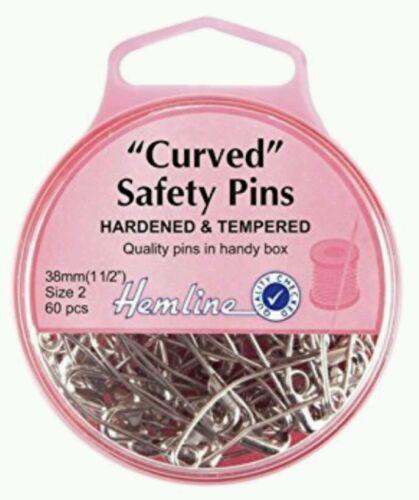 HEMLINE HARD CURVED SAFETY PINS 38mm 60PCS FOR QULITING,PATCHWORK CRAFT H418