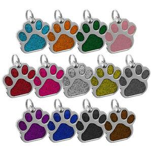 Pata-De-Brillo-grabado-perro-ID-etiqueta-de-nombre-personalizado-de-etiquetas-de-identidad-Mascota