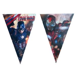 Avengers-drapeau-banniere-Bunting-Enfants-Fete-D-039-Anniversaire-Decoration-Garcons-Filles
